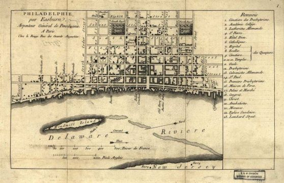 This is one of the historical Philadelphia maps that the team referenced. You can see Windmill Island's location in the Delaware River.